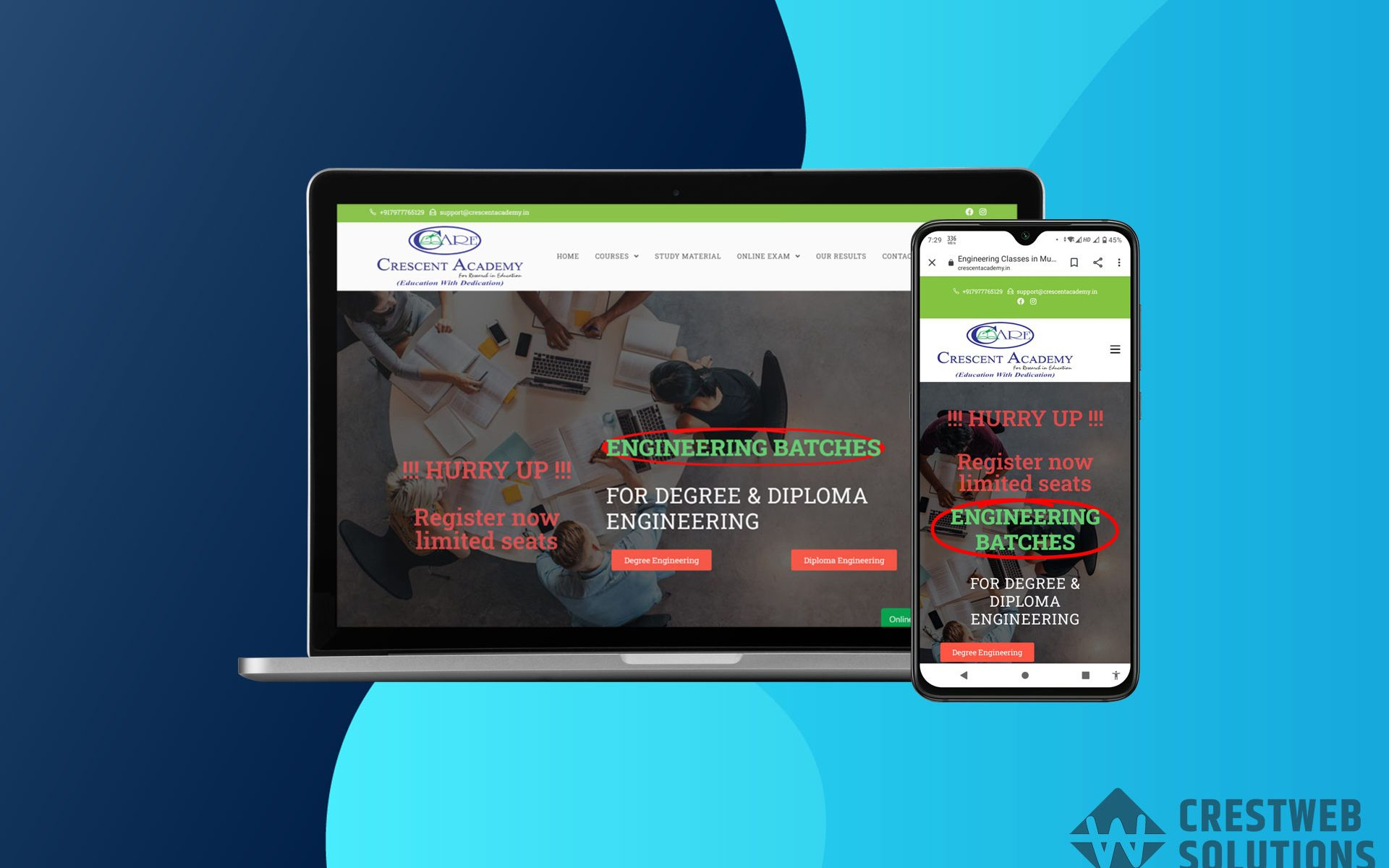 crescentacademy respionsive website in mumbai ecommerce crestweb solutions