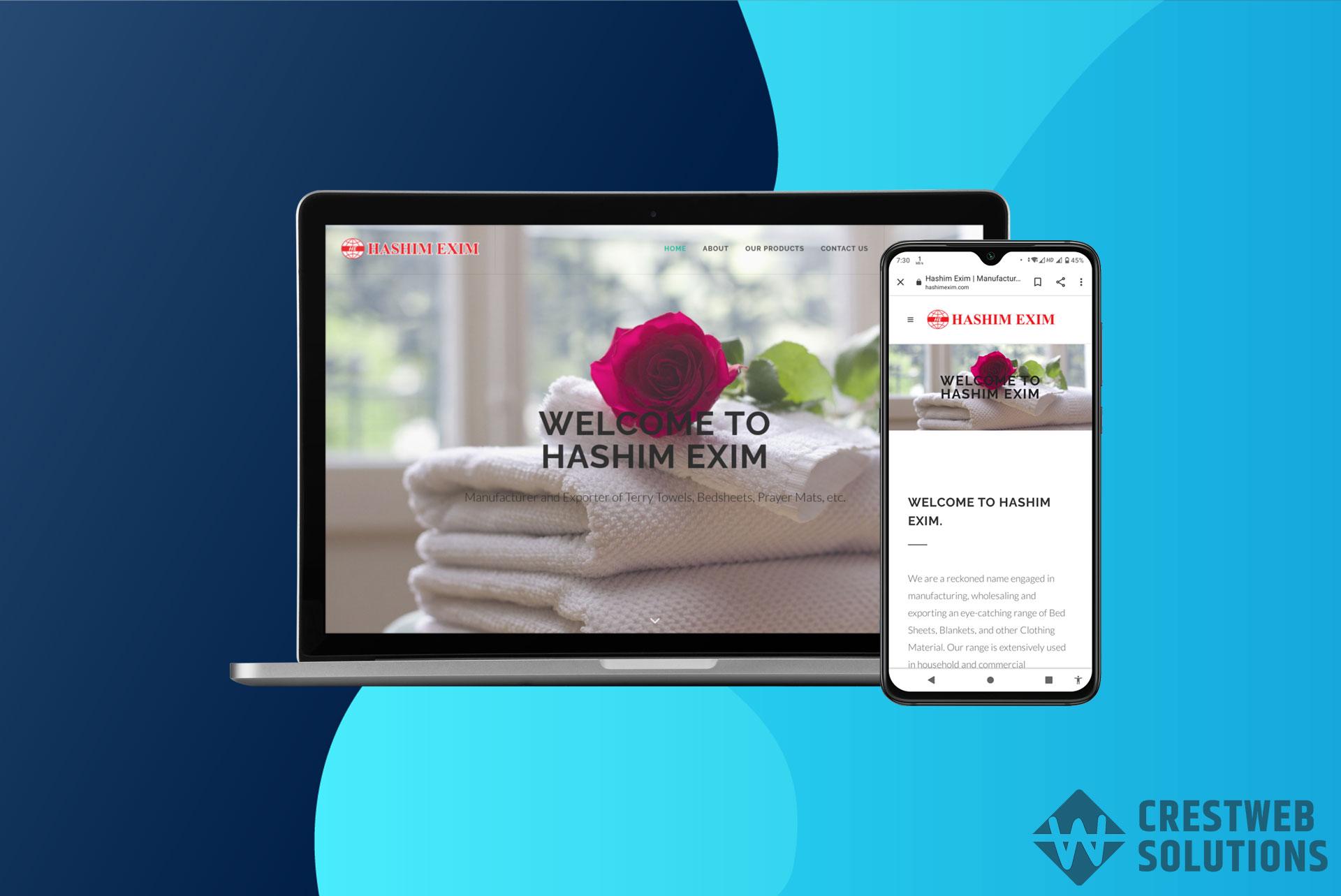 hashimexim responsive website in mumbai ecommerce crestweb solutions