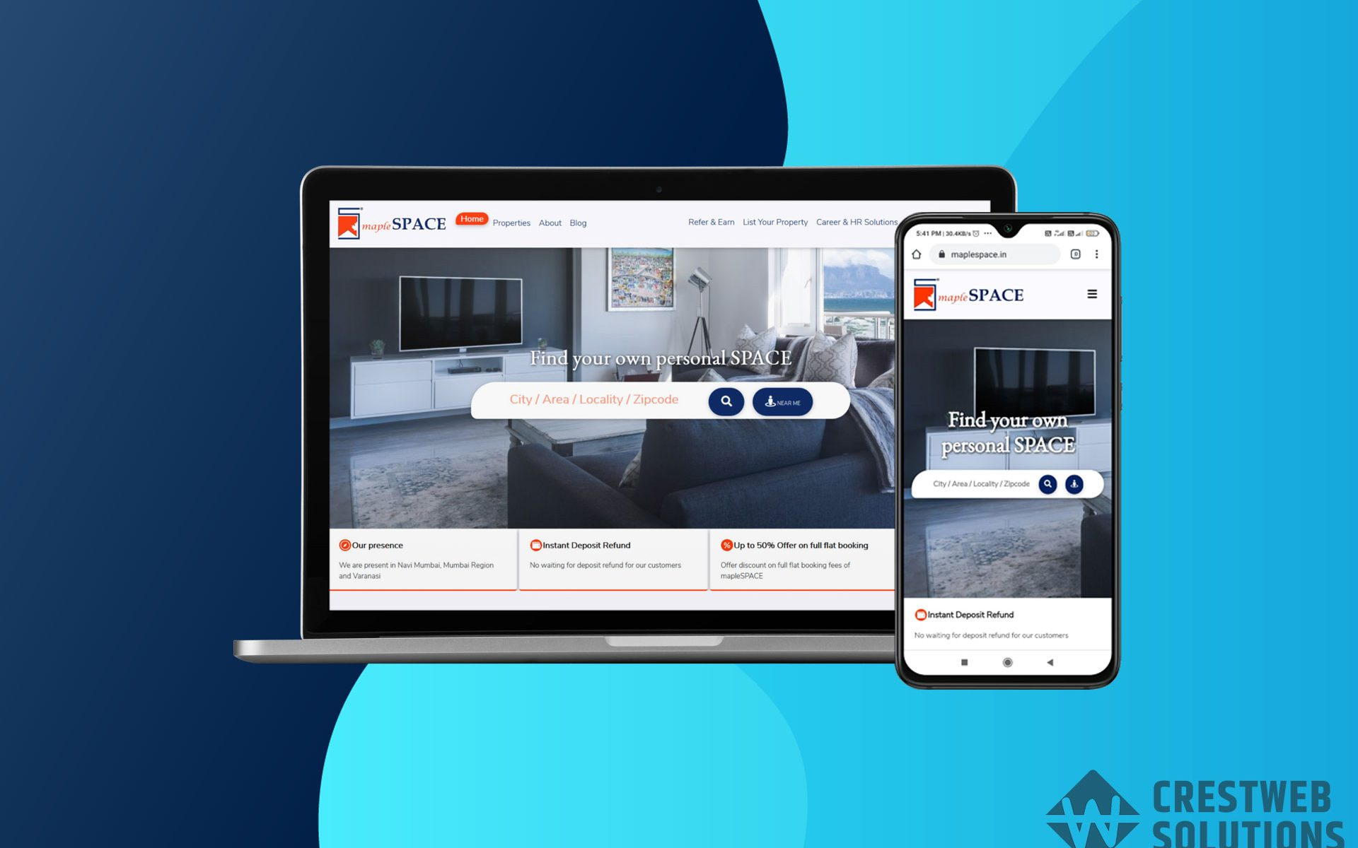 maplespace respionsive website in mumbai ecommerce crestweb solutions