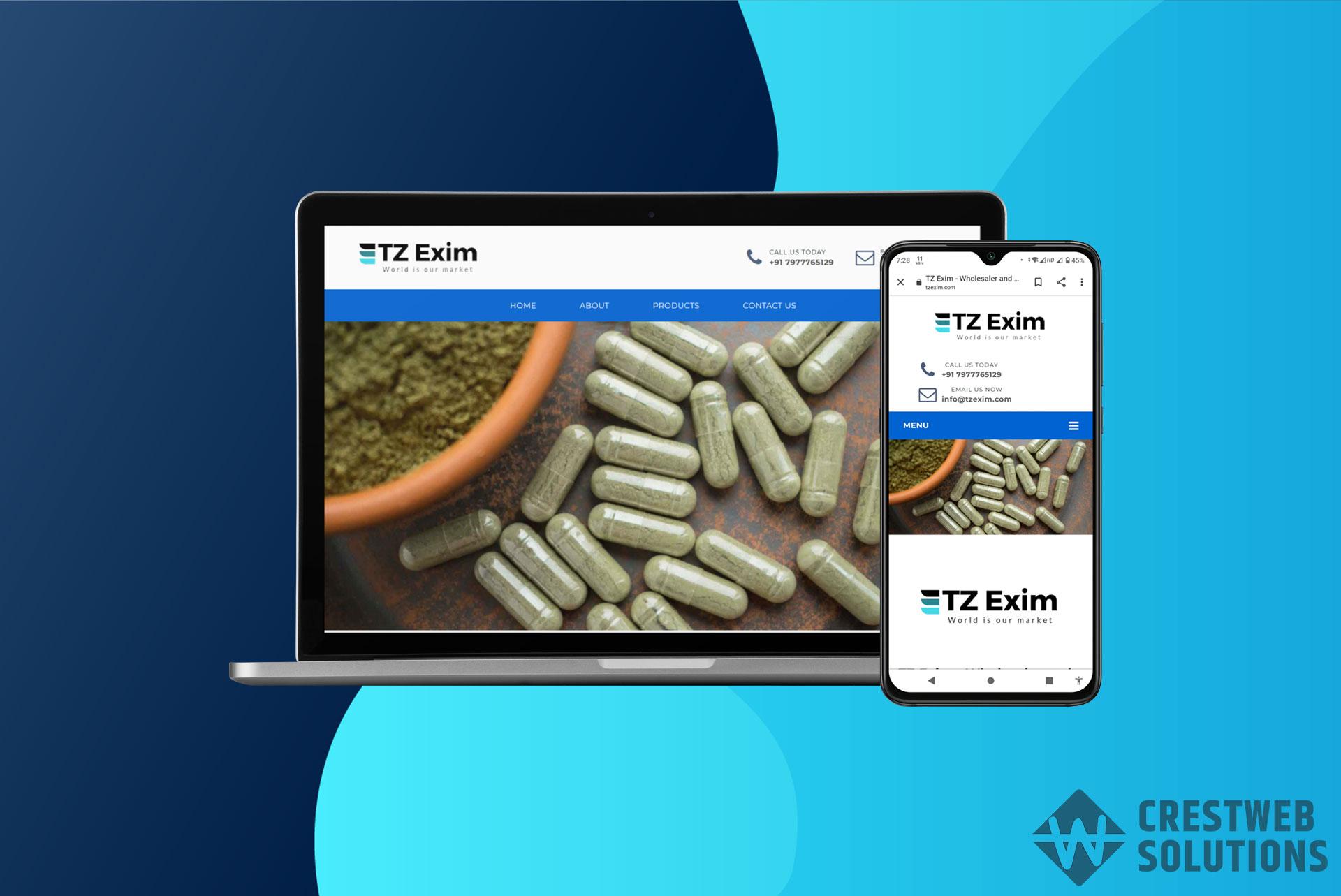 tzexim respionsive website in mumbai ecommerce crestweb solutions